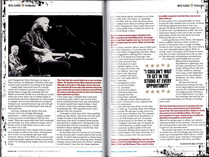 Mick Clarke - Blues Matters feature Oct/Nov 2013