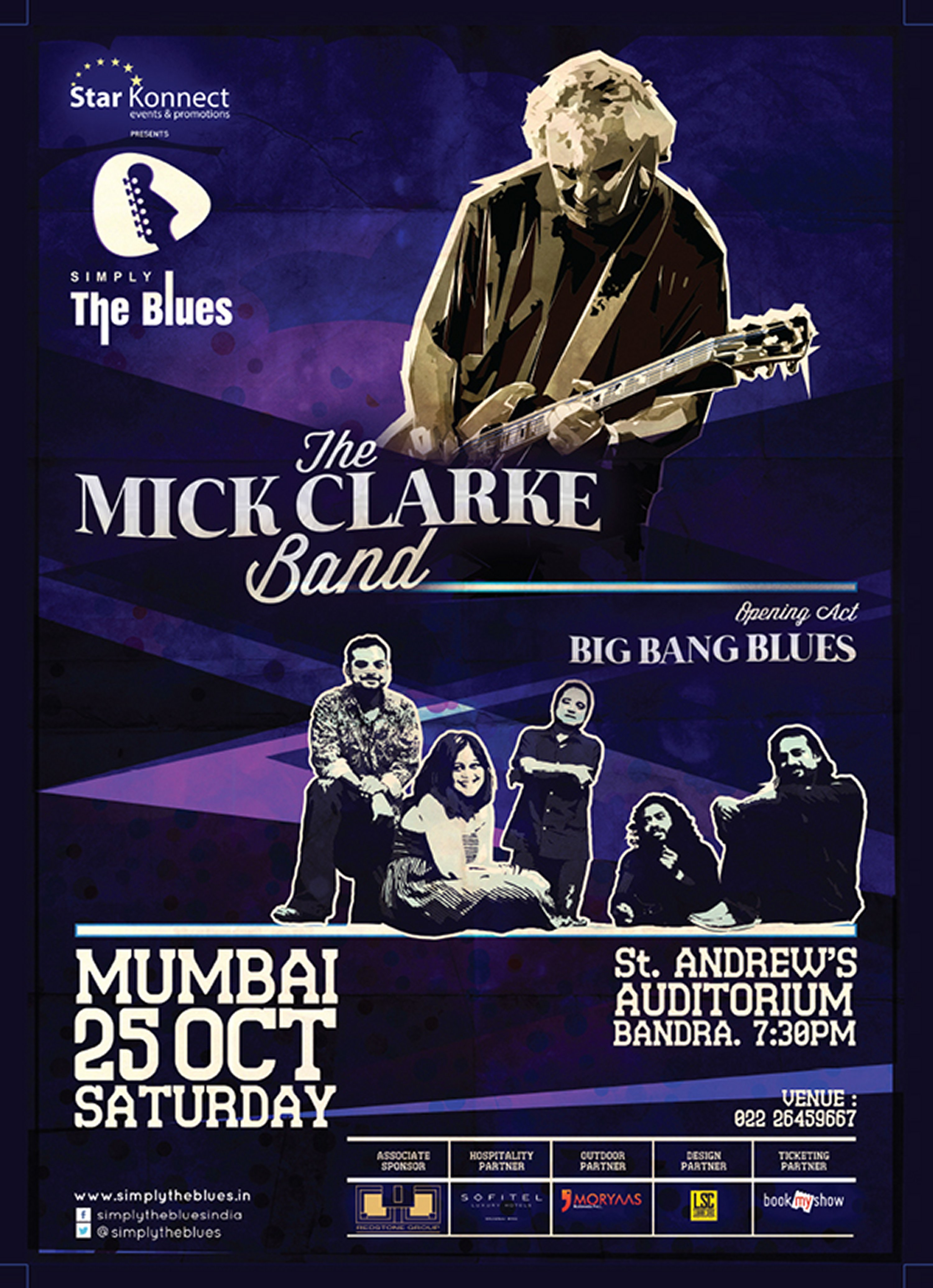 British blues guitarist Mick Clarke at the Simply The Blues Festival, Mumbai India, Oct 2014